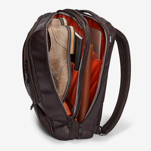 Pro Slim Leather Laptop Backpack in the color Brown.