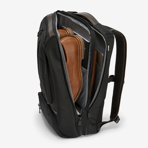 Pro Slim Leather Trim Laptop Backpack in the color Black/Brown.