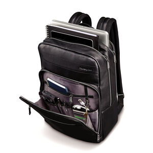 Business Slim Leather Backpack in the color Black.