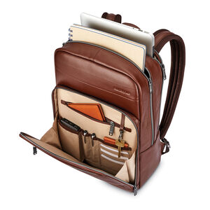 Business Slim Leather Backpack in the color Brown.