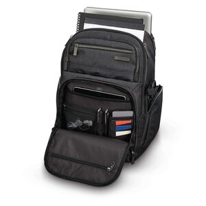 Modern Utility Double Shot Backpack in the color Charcoal Heather/Charcoal.
