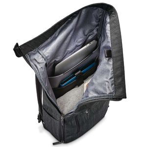 SXK Rolltop Backpack in the color Black/Silver.